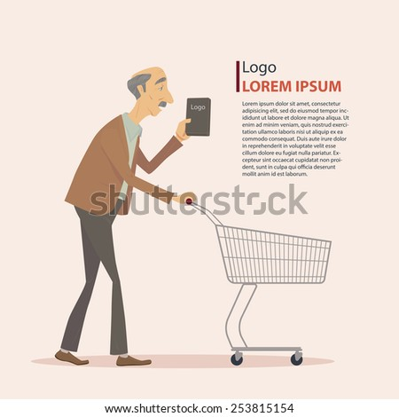 Old man in casual wear with shopping cart, art work, vector illustration. - stock vector