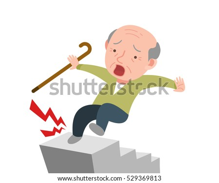 old man is falling down in the stairs.