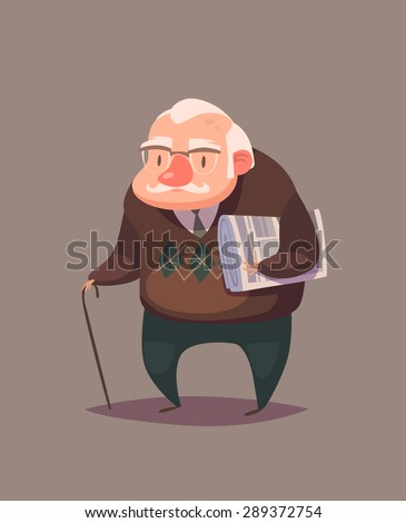 Old man person. Vector character - stock vector