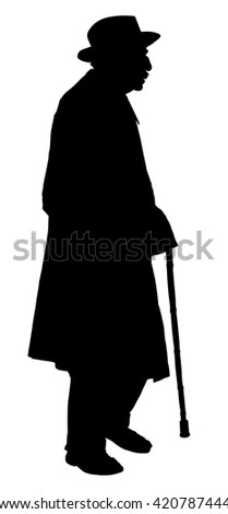 Old man person walking with stick. Vector character isolated on white background. Senior mature, old people active life. - stock vector