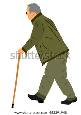 Old man person walking with stick. Vector character isolated on white background. Senior mature, old people active life. Person walking with stick. Grandpa vector. - stock vector