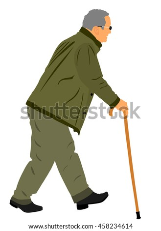 Old man person walking with stick. Vector character isolated on white background. Senior mature, old people active life. Old man person walking outdoor. Grandpa vector. Health care concept. - stock vector