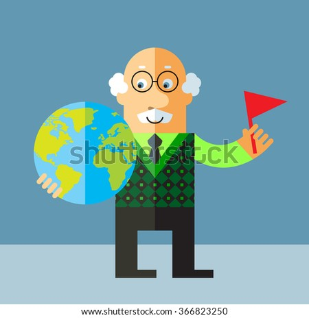 Old Man putting flag mark the globe. Flat style vector illustration on gray background. - stock vector