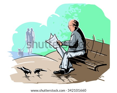 Old man reading news paper in the park. - stock vector