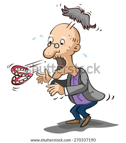 Old man shocked - stock vector