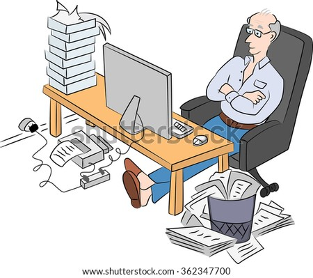 Old man sitting in front of computer looking at the monitor surfing the web and smiling - stock vector