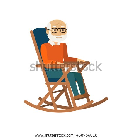 Old man sitting in rocking chair. Vector illustration. - stock vector
