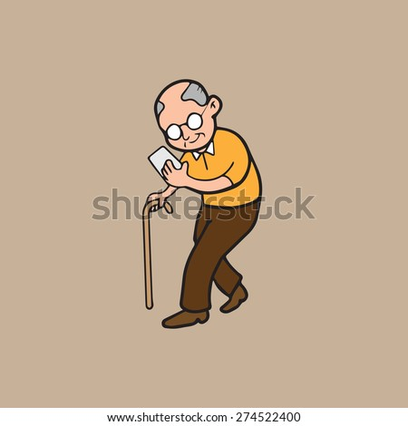 Old man walking and text on mobile phone - stock vector