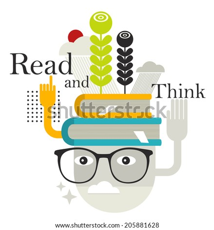 Old man with abstract books on his head. Vector illustration. - stock vector