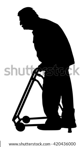 old man with walker vector. Old man person walking with caregiver. Vector character isolated on white background. Senior mature, old people active life. Old man person walking. Grandpa silhouette. - stock vector