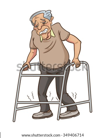 use a walking frame sick old man walking with a walker handicapped man ... Old Man Walking Cartoon