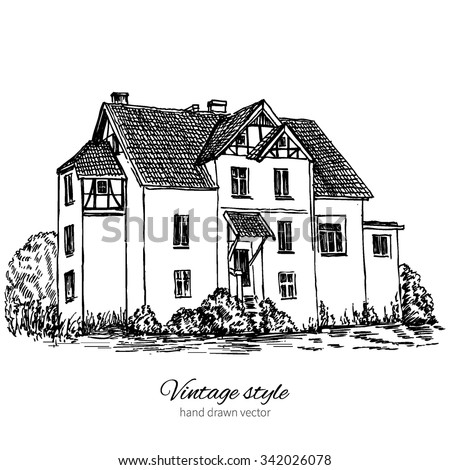 Old mansion among tree, hand drawn black sketch, ink vector engraved illustration isolated on white background, Europe, Historical tile village building line art, Postcard template with european house