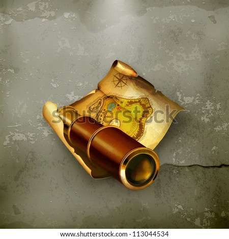 Old map and spyglass, old-style vector - stock vector