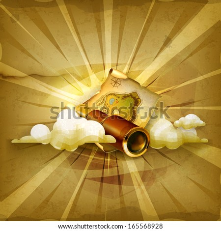 Old map and spyglass, old style vector background - stock vector