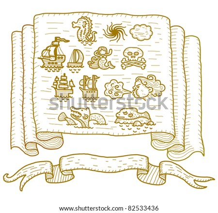 old map item - stock vector