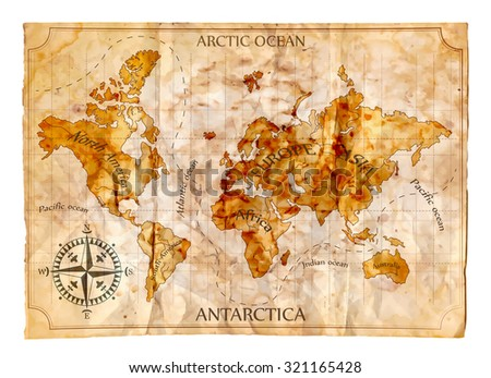 Old map, vector illustration - stock vector