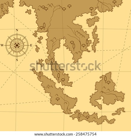 old map with a compass and trees in shades of yellow