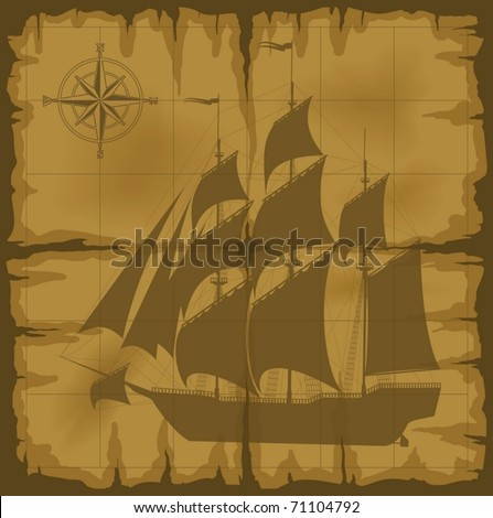 old map with image of large ship and compass rose (vector illustration) - stock vector