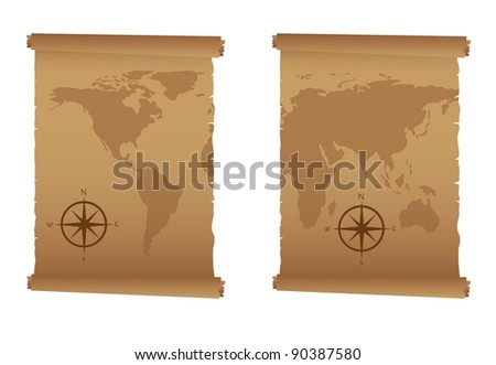 old maps with compass rose over white background. vector