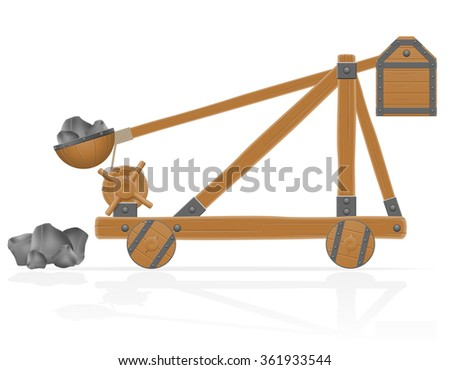 old medieval wooden catapult loaded stones vector illustration isolated on white background - stock vector