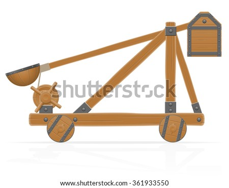 old medieval wooden catapult vector illustration isolated on white background - stock vector