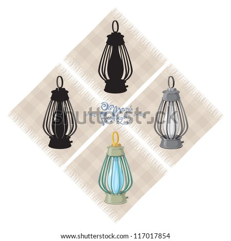 Old metal lantern, 5, vector