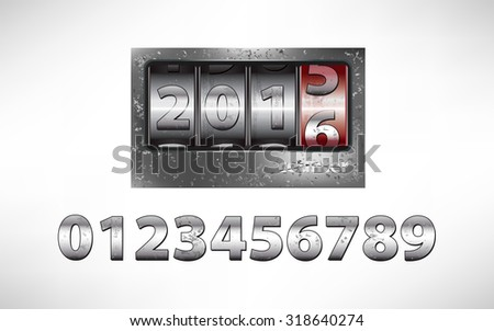 Old metal mechanical counter with year 2016 - stock vector