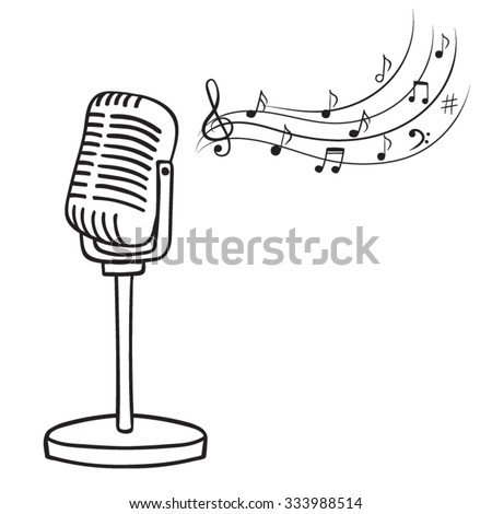Old microphone and music notes hand drawn vector. Vintage music background. - stock vector