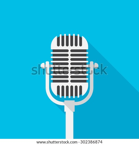 Old microphone icon with long shadow. Flat design style. Microphone simple silhouette. Modern, minimalist icon in stylish colors. Web site page and mobile app design vector element.
