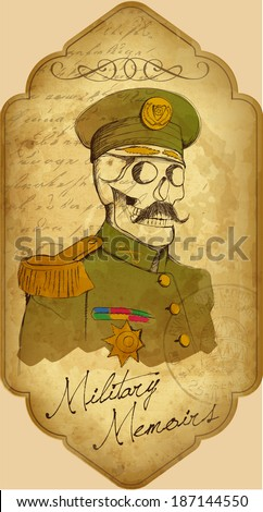 old military skull - stock vector