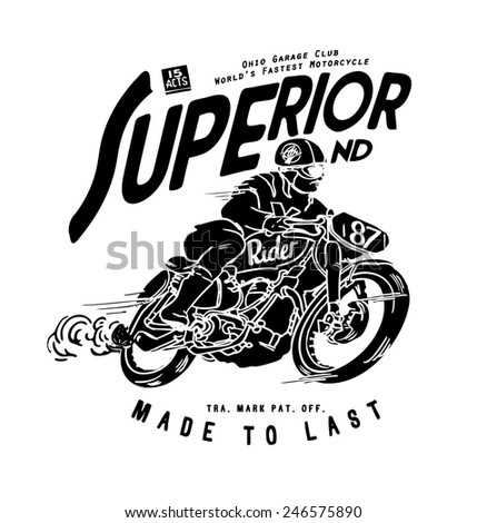 old motorcycle racer illustration - stock vector