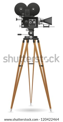 old movie camera vector illustration isolated on white background - stock vector