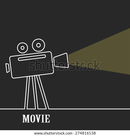 Old movie camera with reel on a dark background and a ray of light.Old movie camera with reel on a dark background and a ray of light. Symbol of the film industry, cinema.Outline. - stock vector