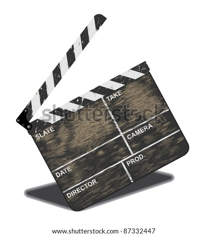 Old movie clapper, often in use. Vector illustration - stock vector
