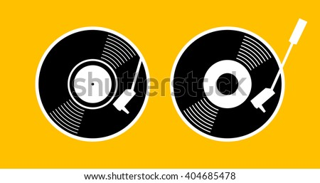 Old music long play record - flat symbol. Vinyl turn table icon app. Black gramophone web sign - simple silhouette graphic design. vector art image illustration, isolated on yellow background eps10 - stock vector