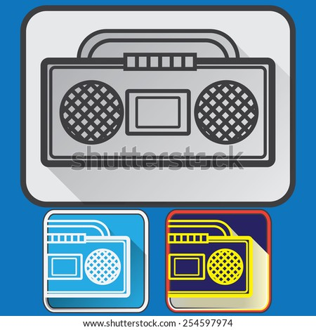 Old music player icons - stock vector