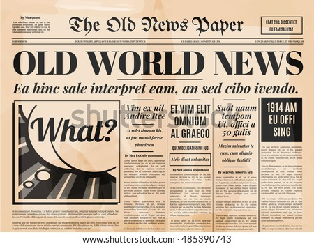 Newspaper stock photos royalty free images vectors for Old fashioned newspaper template free