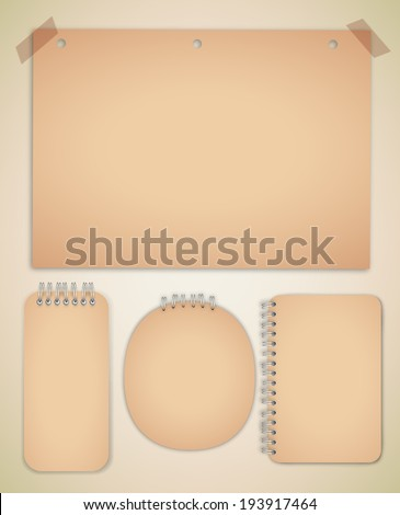 Old Notebook Collection Vector - stock vector