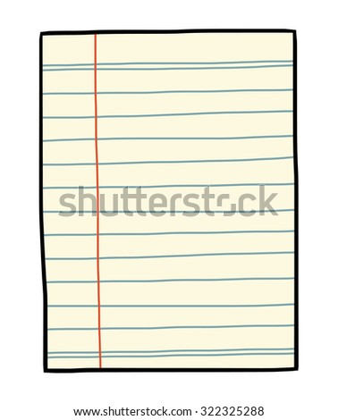 old notebook paper / cartoon vector and illustration, hand drawn style, isolated on white background.
