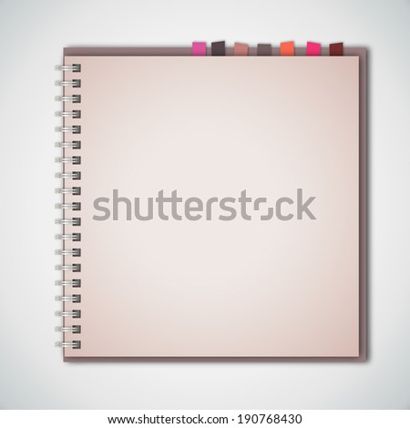 Old Notebook with Bookmark Paper Vector  - stock vector