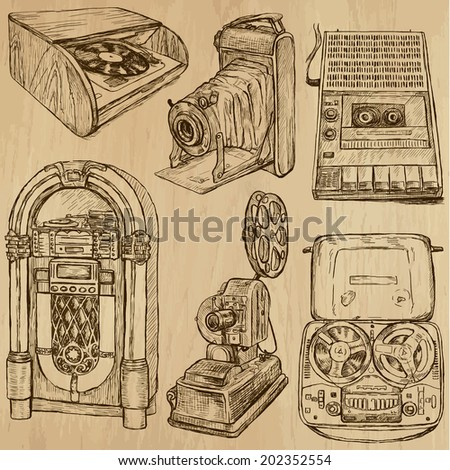 Old Objects around the World (vector pack no.3). Collection of an hand drawn illustrations (originals). Each drawing comprises of two layers of outlines, the colored background is isolated. - stock vector