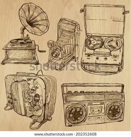 Old Objects around the World (vector pack no.4). Collection of an hand drawn illustrations (originals). Each drawing comprises of two layers of outlines, the colored background is isolated. - stock vector