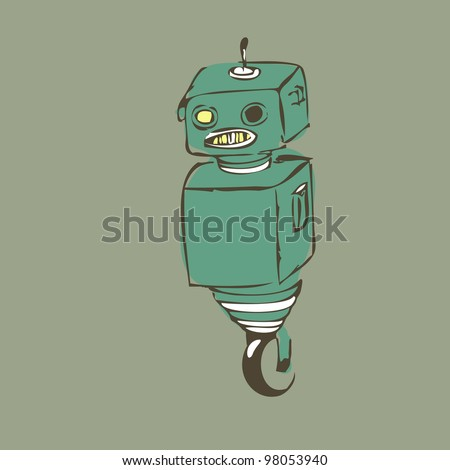 Old one-wheel robot, staying alone - stock vector