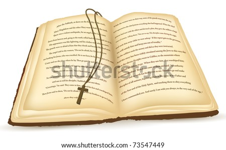 Old open Bible with cross over white background - stock vector