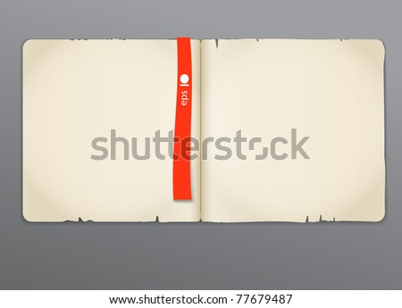 Old opened book with red bookmark background. Ready for the text - stock vector