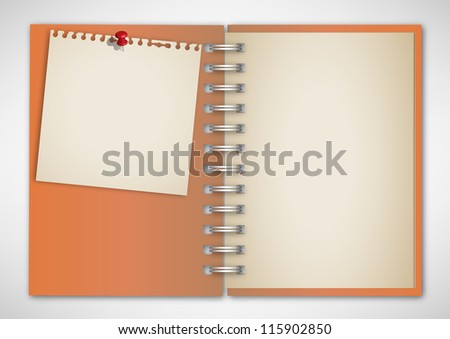 Old Orange Notebook with Note Paper - stock vector