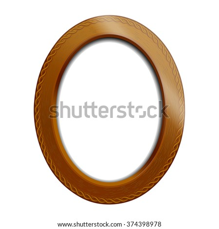 Old oval frame in the Victorian style of wood. Frame for pictures and portraits.