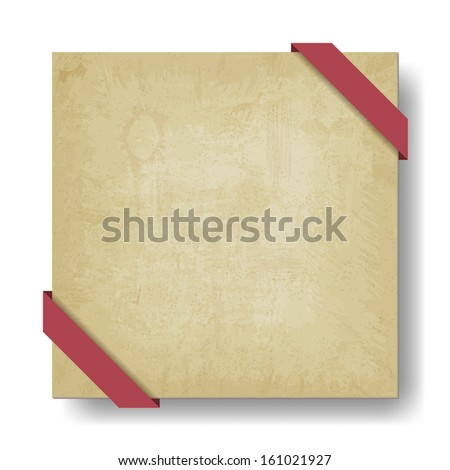 old paper background with red ribbon - vector illustration