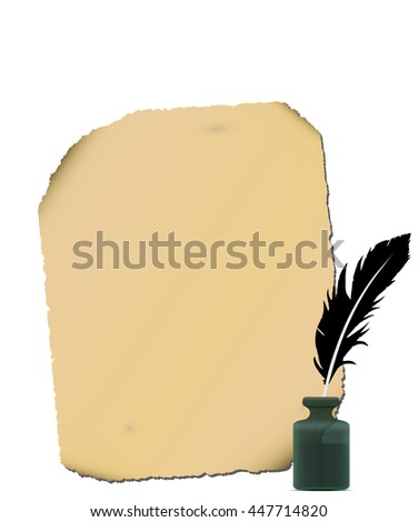 Old paper, feather, inkwell close-up isolated. - stock vector