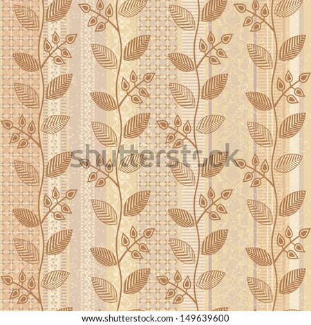 Old paper floral background seamless pattern - stock vector